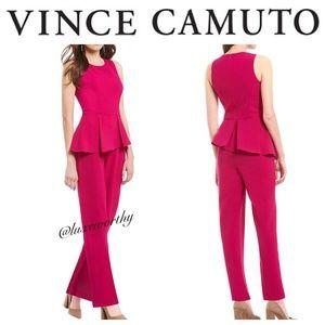 Vince Camuto Peplum Crepe Sleeveless Jumpsuit